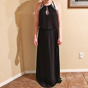 Navy Zara Trafaluc Beaded Chiffon Maxi Dress XS